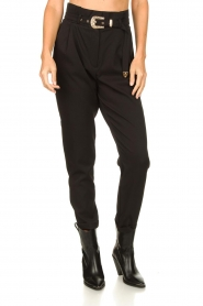Aaiko |  High-waist belted pants Tressa | black  | Picture 5
