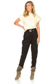 Aaiko |  High-waist belted pants Tressa | black  | Picture 3