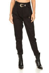 Aaiko |  High-waist belted pants Tressa | black  | Picture 6