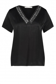 Aaiko |  Top with lace v-hals Sinnie | black  | Picture 1