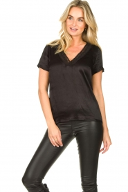 Aaiko |  Top with lace v-hals Sinnie | black  | Picture 3