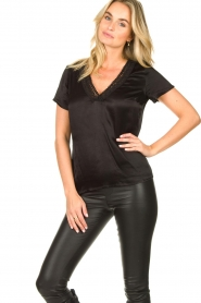 Aaiko |  Top with lace v-hals Sinnie | black  | Picture 2