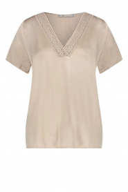 Aaiko |  Top with lace v-neck Sinnie | beige  | Picture 1