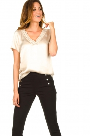 Aaiko |  Top with lace v-neck Sinnie | beige  | Picture 2