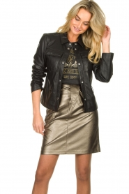 Aaiko |  Faux leather metallic skirt Patia | metallic  | Picture 4
