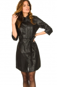 Aaiko |  Faux leather midi dress Peloma  | black  | Picture 4