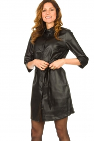 Aaiko |  Faux leather midi dress Peloma  | black  | Picture 2