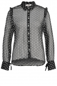 Aaiko |  Mesh blouse with diamond details Chelice | black  | Picture 1