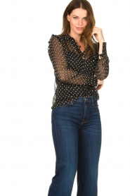 Aaiko |  Mesh blouse with diamond details Chelice | black  | Picture 4