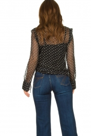 Aaiko |  Mesh blouse with diamond details Chelice | black  | Picture 6