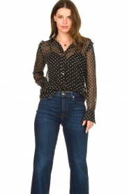 Aaiko |  Mesh blouse with diamond details Chelice | black  | Picture 2