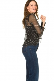 Aaiko |  Mesh blouse with diamond details Chelice | black  | Picture 5