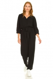 Aaiko |  Jumpsuit with tie belt Shivani | black  | Picture 2