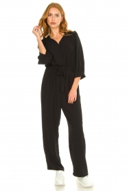 Aaiko |  Jumpsuit with tie belt Shivani | black  | Picture 3