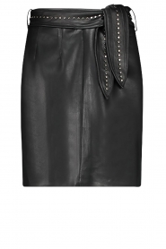 Aaiko |  Faux leather skirt with studs Patia | black  | Picture 1