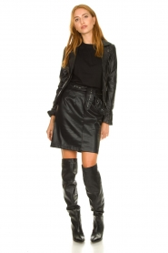 Aaiko |  Faux leather skirt with studs Patia | black  | Picture 3