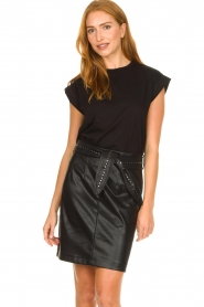 Aaiko |  Faux leather skirt with studs Patia | black  | Picture 2