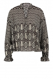 Aaiko |  Printed blouse with drawstring Marlie | black  | Picture 1