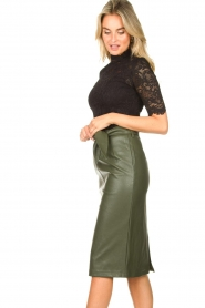 Aaiko |  Faux leather pencil skirt  detail Ploxy | green  | Picture 5
