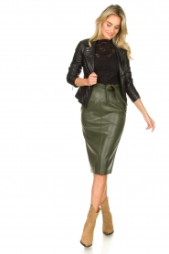 Aaiko |  Faux leather pencil skirt  detail Ploxy | green  | Picture 3