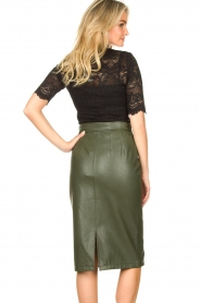 Aaiko |  Faux leather pencil skirt  detail Ploxy | green  | Picture 6