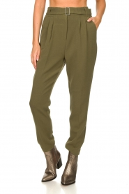 Aaiko |  Pants with belt Lyatt | green  | Picture 4