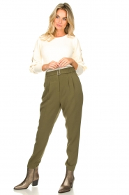 Aaiko |  Pants with belt Lyatt | green  | Picture 3