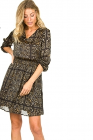 Aaiko |  Print dress Firely | black  | Picture 4
