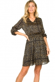 Aaiko |  Print dress Firely | black  | Picture 5