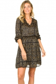 Aaiko |  Print dress Firely | black  | Picture 2