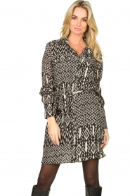 Aaiko |  Printed dress with belt Merola | black  | Picture 2