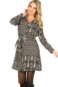 Aaiko |  Printed dress with belt Merola | black  | Picture 4