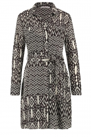 Aaiko |  Printed dress with belt Merola | black  | Picture 1