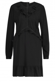 Aaiko |  Dress with ruffles Talise | black  | Picture 1