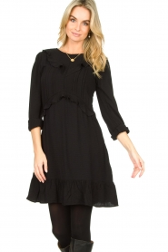 Aaiko |  Dress with ruffles Talise | black  | Picture 2
