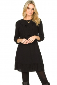 Aaiko |  Dress with ruffles Talise | black  | Picture 4