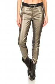 Aaiko |  Pants with metallic stripe Sosa | metallic  | Picture 4