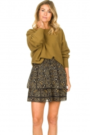 Aaiko |  Print skirt Trix | black  | Picture 2
