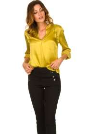 Aaiko |  Satin blouse Valera | yellow  | Picture 4