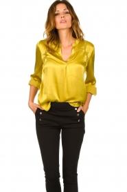 Aaiko |  Satin blouse Valera | yellow  | Picture 2