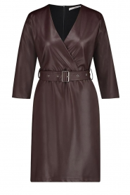 Aaiko |  Faux leather dress Shyla | brown  | Picture 1