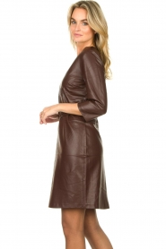 Aaiko |  Faux leather dress Shyla | brown  | Picture 5