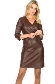 Aaiko |  Faux leather dress Shyla | brown  | Picture 4