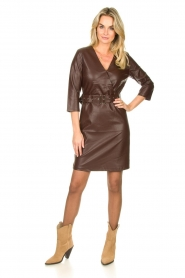 Aaiko |  Faux leather dress Shyla | brown  | Picture 3