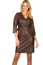 Aaiko |  Faux leather dress Shyla | brown  | Picture 2