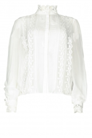 Fracomina |  Blouse with laced details Venice | white  | Picture 1