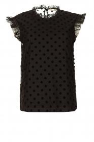 Fracomina |  Polkadot top with ruffles Dots | black  | Picture 1
