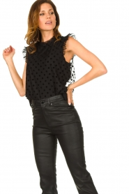 Fracomina |  Polkadot top with ruffles Dots | black  | Picture 2