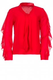 Fracomina |  Blouse with ruffles Vela | red  | Picture 1