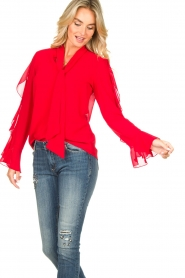 Fracomina |  Blouse with ruffles Vela | red  | Picture 2